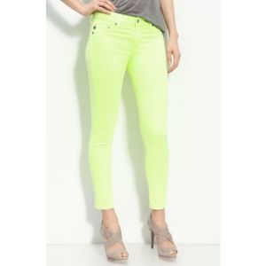 AG The Stilt Cigarette Jeans in Neon Yellow